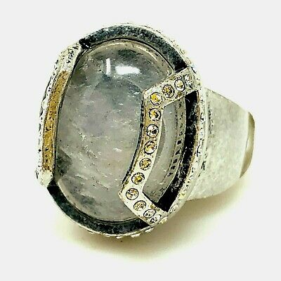 $ CDN50.48 • Buy Lia Sophia Ring Size 10 Liam Collection Silver Tone Frosted White Oval Stone