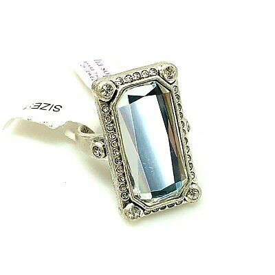 $ CDN50.48 • Buy Lia Sophia Ring Size 10 Silver Tone Large Clear Rectangle Cut Crystal Statement