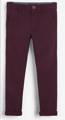 £8 • Buy Next Stretch Chino Trousers / Pants .Burgundy -Plum Color Age 12