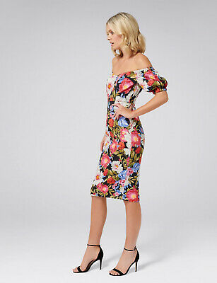AU59 • Buy FOREVER NEW Olivia Floral Off The Shoulder MIDI Pencil Dress Size 6 As New