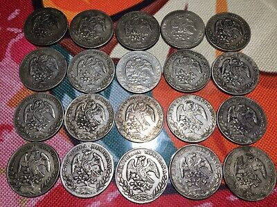 AU1820 • Buy Lot Of 20 Mexico Eagle 8 Reales Silver Coins Late 1800s Years All Circulated
