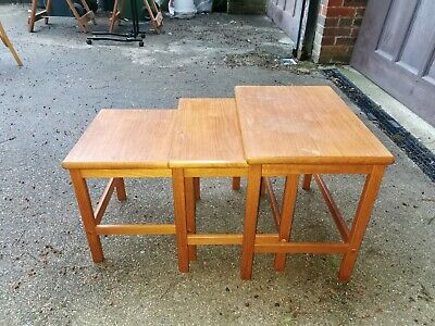 £55 • Buy Vintage Solid Pine? Wood Nest Of 3 Wooden Coffee Tables