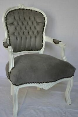£119 • Buy LOUIS XV ARM CHAIR FRENCH STYLE CHAIR VINTAGE FURNITURE Grey White Wood