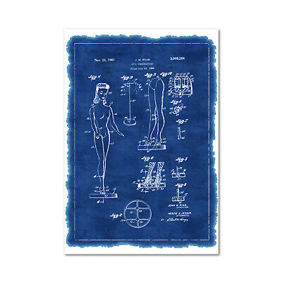 £7.96 • Buy Barbie Doll Patent Poster - Invention Blue Print Wall Art - High Quality Print