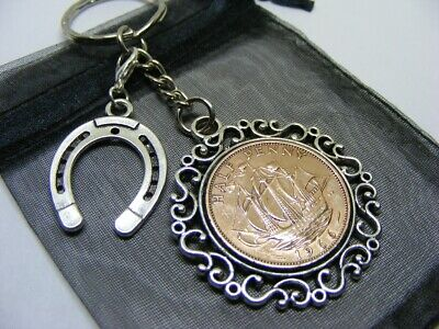 1966 Half Penny Coin & Lucky Horseshoe Charm Keyring - 55th Birthday Gift • 6.95£