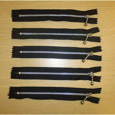 Closed End Job Lot Black  Metal Zips 6 Inches 15 Cms Various Quantity Packs • 3.99£