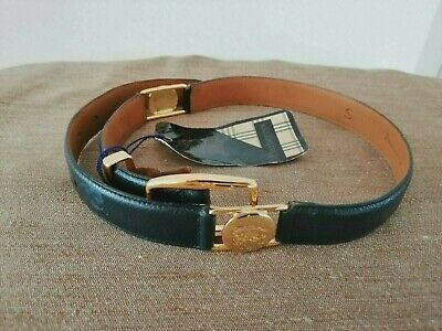 Genuine New Vintage Burberry Of London Ladies Size S Blue Leather Belt With Tag • 95.99£