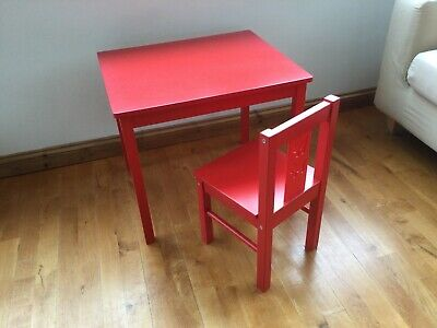 IKEA Kritter Wooden Children's Table And Chair Set Red • 15£