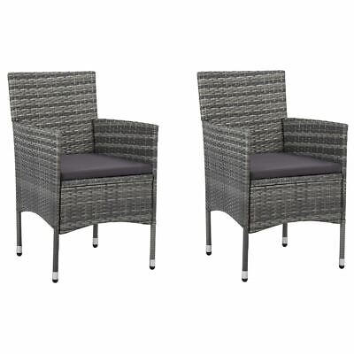 AU165.95 • Buy 2pcs Garden Dining Chairs Patio Outdoor Furniture Weather Resistant Rattan Grey