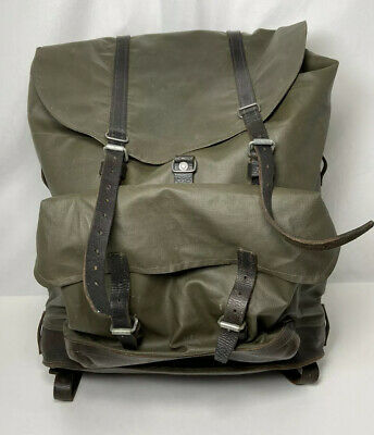 Vintage Swiss Army Military Leather Rubber Rucksack Backpack 60s • 53.19£