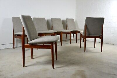 AU3000 • Buy Iconic Australian Chairs X6 Parker Slab Back Mid Century Dining Chairs Restored