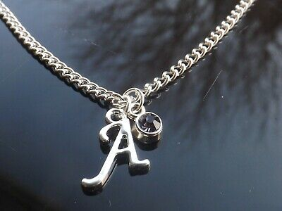 £3 • Buy Birthstone Necklace June Silver Plated Initial Letter Alphabet A-Z 16-30  Long