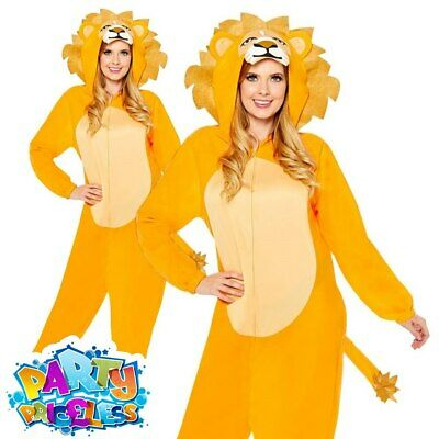 Adult Lion Jumpsuit Costume Safari Zoo Animal World Book Week Fancy Dress Outfit • 18.99£