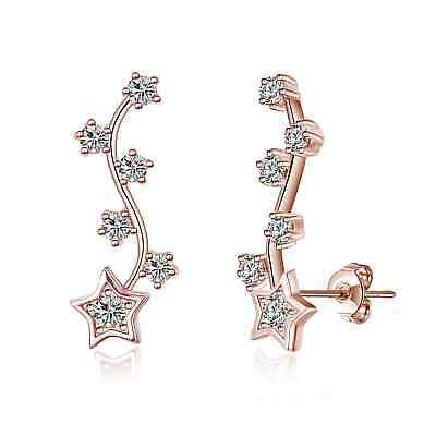 £7.95 • Buy Rose Gold Star Climber Earrings Created With Swarovski® Crystals