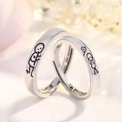 £6 • Buy UK Silver Set Of 2 Couples Lovers Open Adjustable Rings