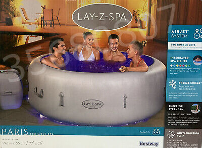 4-6 Person Luxury Lay -Z-Spa Paris Inflatable Hot Tub With Colourful LED Light💦 • 799.99£