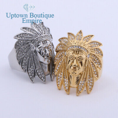 £9.22 • Buy Cubic Zirconia Indian Chief Head Men's Stainless Steel Ring Size:8-13 #GD