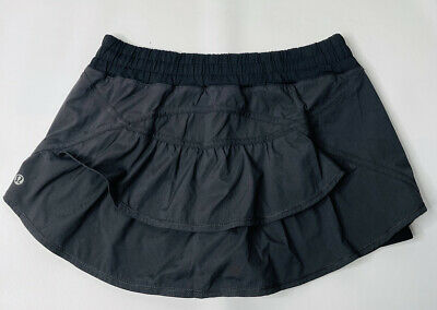$ CDN73.38 • Buy Lululemon Womens 10 Black Ruffle Back Tennis Golf Skort Skirt With Shorts