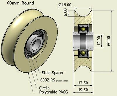 £9 • Buy 60mm Nylon Pulley Wheel With Ball Bearings With Retaining Rings