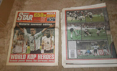 £7 • Buy 2001 Germany V England 1-5, 2 Newspapers Signed Michael Owen