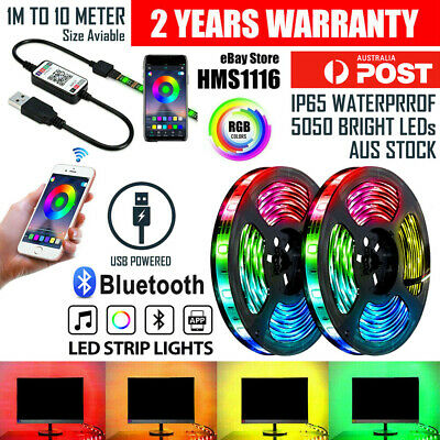 AU14.49 • Buy RGB LED Strip Lights IP65 Waterproof 5050 10M 5M 300 LEDs 12V 5V USB Bluetooth
