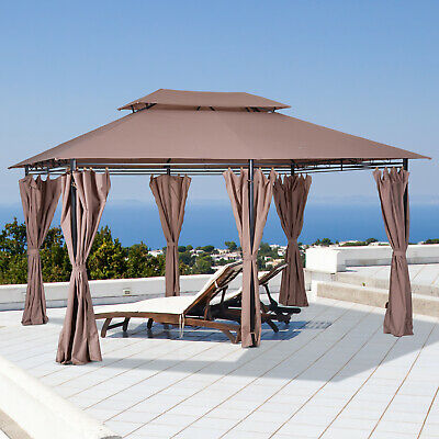£259.99 • Buy Outsunny 3 X 4m Outdoor 2-Tier Steel Frame Gazebo With Curtains Outdoor Backyard