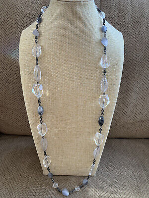 $ CDN15.86 • Buy Gorgeous Lia Sophia Long Statement Necklace Bead Stone Clear Gray Black