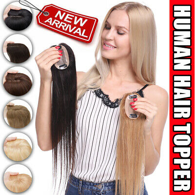 £38.43 • Buy UK CLEARANCE 100% Human Hair Topper Hairpiece Top Wig Toupee Silk Base For Women