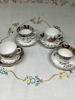 4 Mismatched Golds & Blue English Bone China Cups & Saucers Afternoon Tea💛#19 • 11.50£