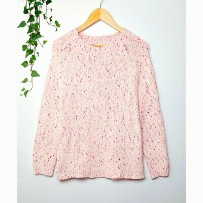 Pink 90s Hipster Slouchy Thick Chunky Knitted Cosy Winter Sweater Jumper 12 14 • 12.99£