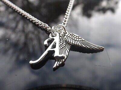 £3 • Buy 16-30 Inch Long Silver Plated Necklace - Guardian Angel Wings & Initial Letter