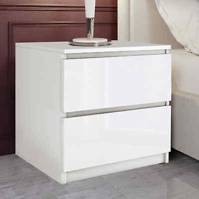 £35.99 • Buy Bedside Table Cabinet Nightstand 2 Draw White Chest Of Drawers Bedroom Furniture