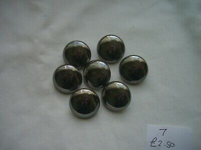 £2.40 • Buy DARK  SILVER / PEWTER COLOR, PLAIN DOMED COAT / JACKET  BUTTONS  X 7  FREE P&P