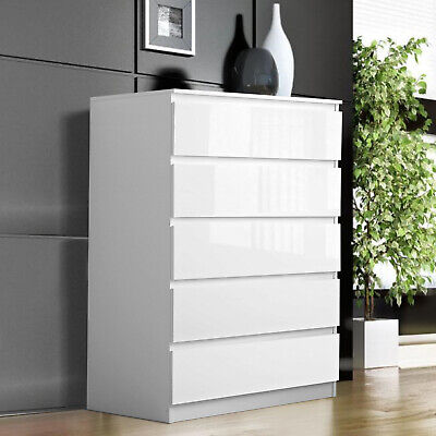 £119.99 • Buy High Gloss Chest Of Drawers Bedside Table Cabinet 5 Drawer Bedroom Furniture