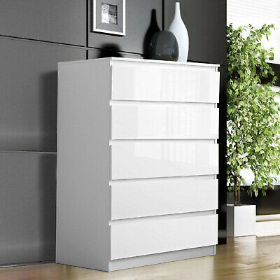 £149.99 • Buy White Chest Of Drawers Bedside Table Cabinet 5 Drawer Storage Bedroom Furniture