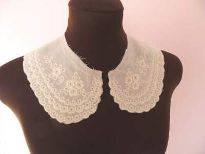 Cream (ecru) Rustic Cotton Broderie Anglais Embroidered Lace Collars • 2.50£