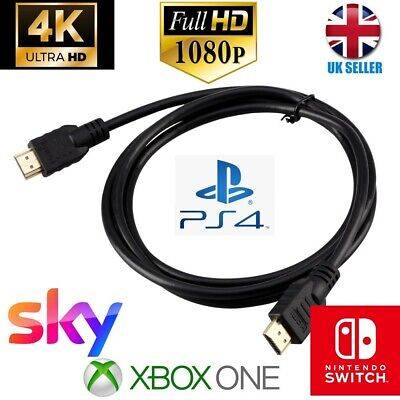 1M PREMIUM HDMI Cable Lead V2.0 HD High Speed 4K/3D/PS4/Xbox/ Nintendo Switch • 2.49£