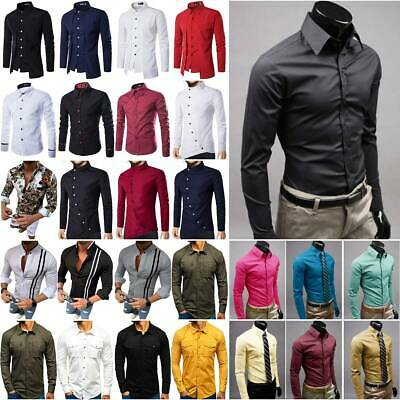 Mens Long Sleeve Shirt Formal Business Solid Summer T Shirt Casual Tunic Top L • 11.30£