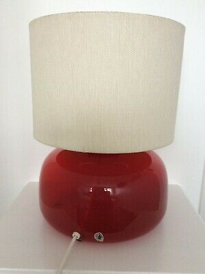 Rare Vintage Retro Ikea Table Lamp B0211 Red Glass Drum Lampshade No 2 • 79.99£