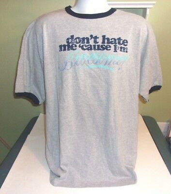 Novelty Ringer T-shirt XL Don't Hate Me Because I'm Awesome  • 18.07£