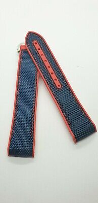 22mm Red & Blue Ends Curved  Rubber And Canvas Strap For Omega Watches • 21.50£
