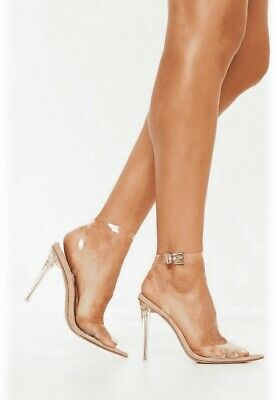 £22 • Buy New Women's Stassie X Missguided Nude Clear Ankle Strap Court Shoes,  UK 5 (38)