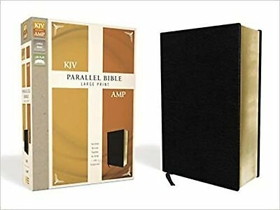 AU66.38 • Buy KJV, Amplified, Parallel Bible, Large Print, Bonded Leather, Black, Red Lette...