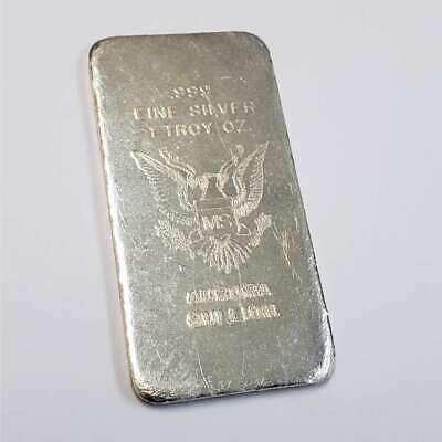 Vintage Aurora Bullion Eagle 1oz .999 Fine Silver MS Ingot Rare Art Bar 4ABExx44 • 45.78£