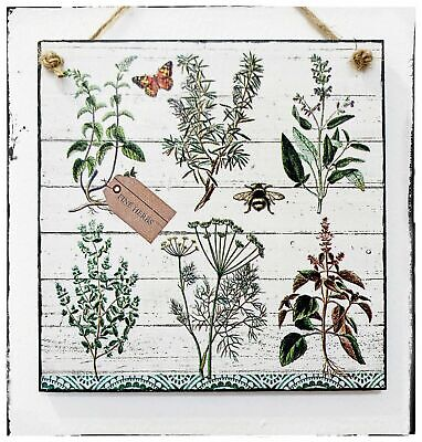£9.90 • Buy Wall Hanging Sign/picture Herbarium Garden Herbs Bee Butterfly Wood