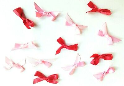 13 Bow Decorations PINK RIBBON Bows For Sewing Bows For Card Making Valentines • 1.39£