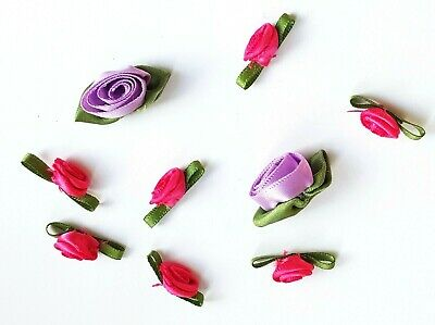 £1.09 • Buy 9 Roses Decorations LILAC PINK GREEN RIBBON Flowers For Sewing Bows For Clothes