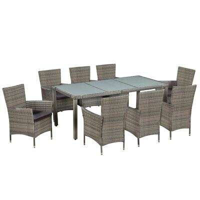 AU939.75 • Buy Elegant Rattan Dining Set 9 Pcs Outdoor Patio Table And Chair With Cushions Grey