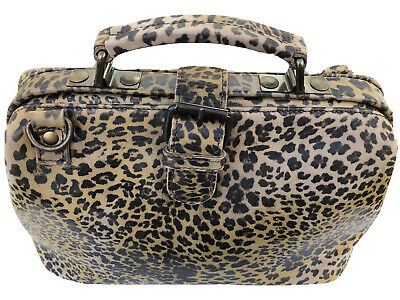 Handmade Doctor Bag With Shoulder Strap In Leopard Leather , Can Wear Crossbody • 32£