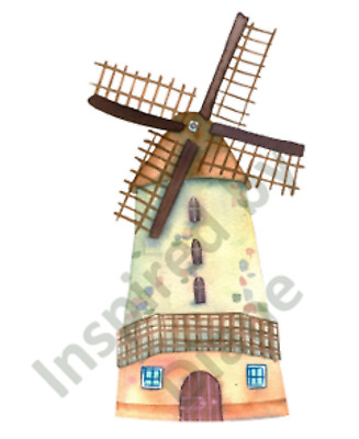 Self-adhesive Wall Sticker From Painted ,fairy Tale House Wind Mill, Nursery 142 • 4.99£